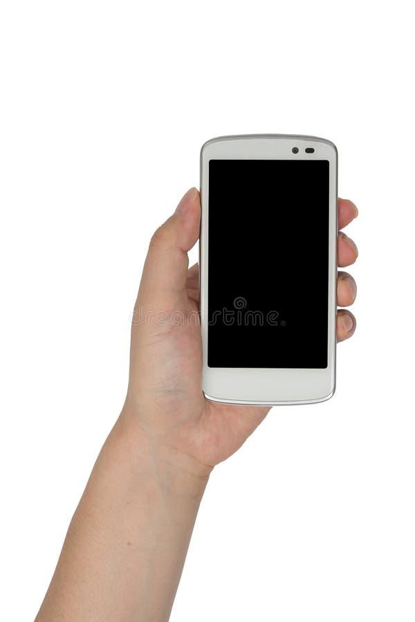 Ciérrese encima del smartphone del control de la mano aislado imágenes de archivo libres de regalías