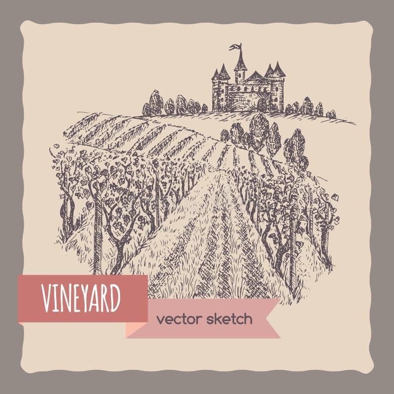 Ciérrese encima del viñedo, castillo en un paisaje de la colina stock de ilustración