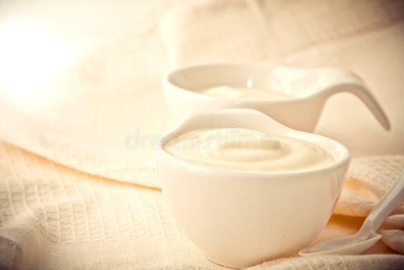 Ciérrese encima del yogur color crema natural en taza fotos de archivo libres de regalías