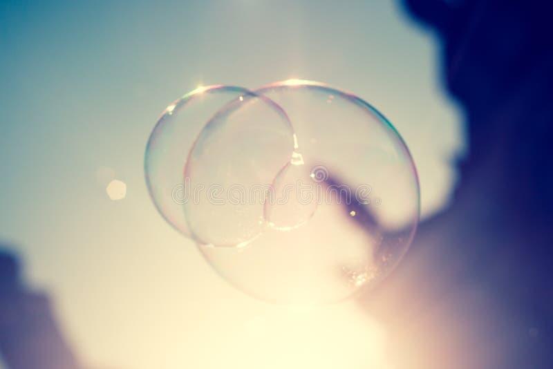 Ciérrese para arriba de burbuja de jabón chispeante en la luz de la tarde de la puesta del sol de Dresden en Alemania fotografía de archivo libre de regalías