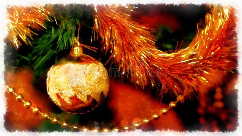 Ciérrese para arriba de decoraciones del árbol de navidad Collage de la acuarela del ordenador foto de archivo libre de regalías
