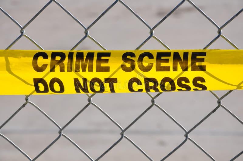 Ciérrese para arriba de escena del crimen no cruzan foto de archivo libre de regalías