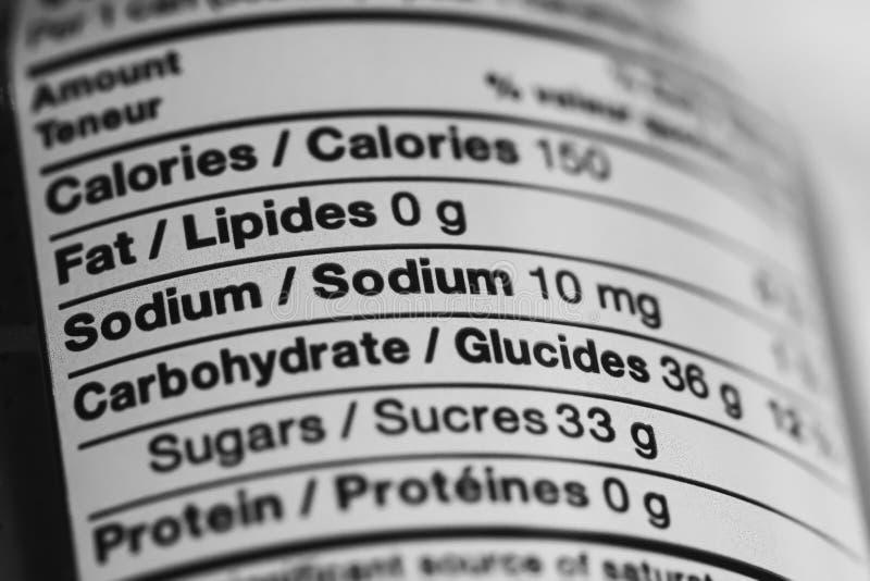 Ciérrese para arriba de etiqueta de la información nutricional imágenes de archivo libres de regalías