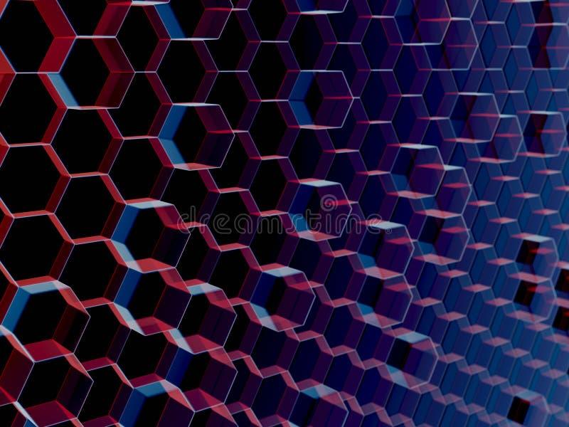 Ciérrese para arriba de fondo abstracto rojo y azul del hexágono foto de archivo