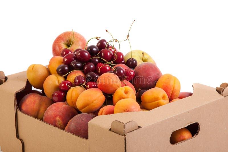 Ciérrese para arriba de frutas orgánicas frescas y sabrosas en caja de cartón, aislado en blanco foto de archivo libre de regalías