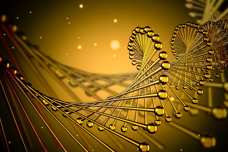 Ciérrese para arriba de hélice amarilla de la DNA ilustración del vector
