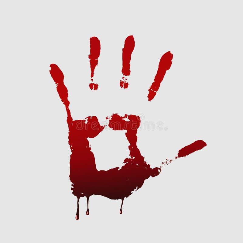 Ciérrese para arriba de handprint sangriento en el fondo blanco ilustración del vector