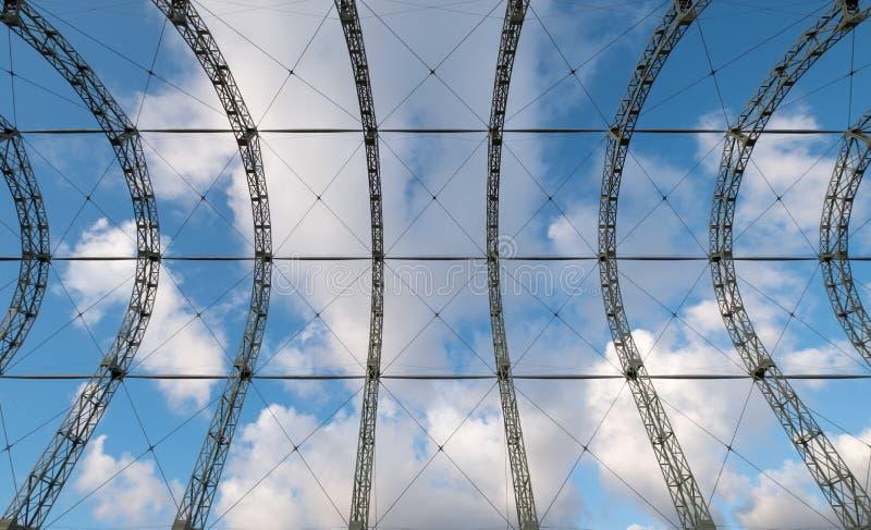 Ciérrese para arriba de hangar del dirigible de la guerra mundial 1 en el sitio original del campo de aviación de Farnborough, ah imagenes de archivo