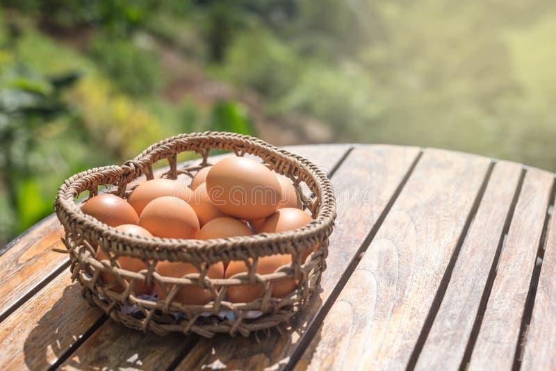Ciérrese para arriba de huevos en una cesta fotografía de archivo libre de regalías
