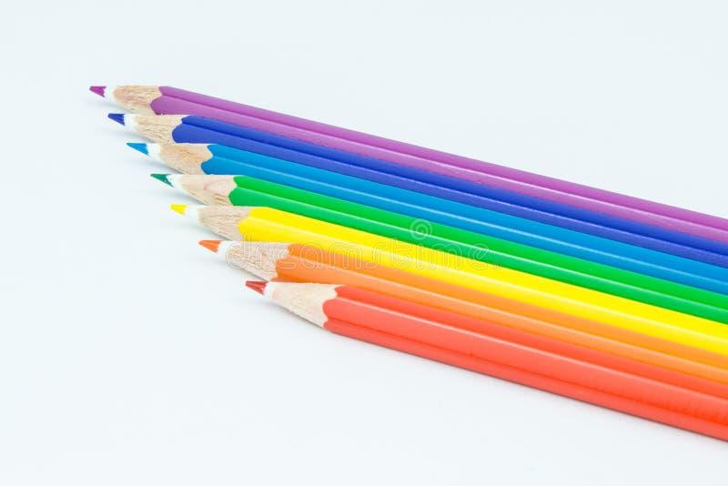 Ciérrese para arriba de lápices coloreados fotos de archivo
