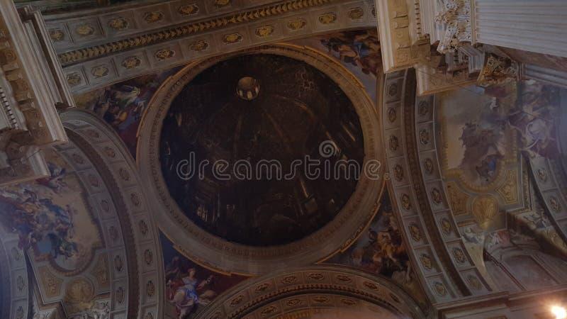 Ciérrese para arriba de la bóveda, iglesia de St Ignatius de Loyola, campus Martius fotografía de archivo