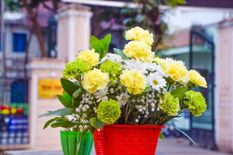 Ciérrese para arriba de la flor y del pote plásticos en la flor borrosa del fondo, del color del blanco, del verde y de Yellor en imagen de archivo