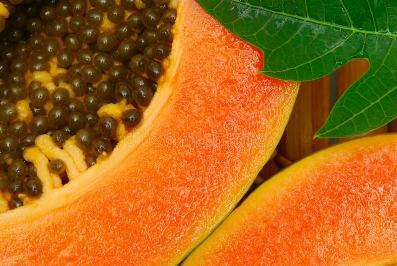 Ciérrese para arriba de la fruta de la papaya imagen de archivo
