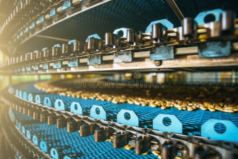 Ciérrese para arriba de la línea en la fábrica de la confitería, industria alimentaria del transportador Producción de la galleta imágenes de archivo libres de regalías