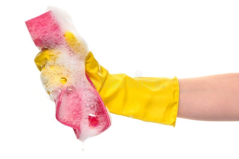 Ciérrese para arriba de la mano femenina en el guante de goma protector amarillo que sostiene el trapo rosado en espuma fotos de archivo