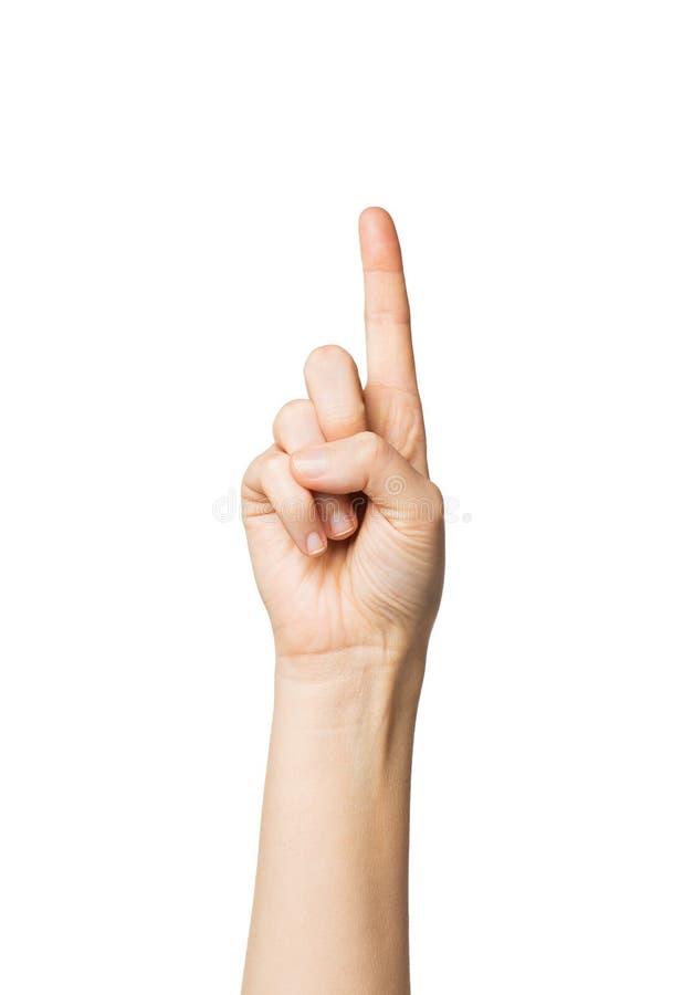 Ciérrese para arriba de la mano que señala un finger foto de archivo