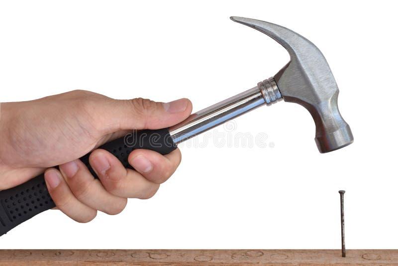 Ciérrese para arriba de las manos del constructor que martillan un clavo en la madera en el fondo blanco fotos de archivo libres de regalías