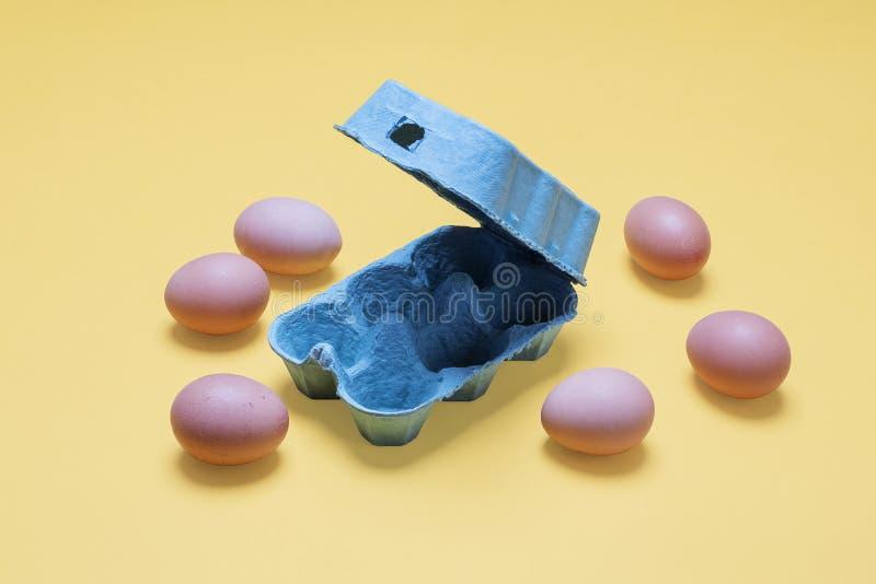 Ciérrese para arriba de las medias docenas huevos marrones orgánicos de la gama libre alrededor del cartón del huevo fotos de archivo libres de regalías