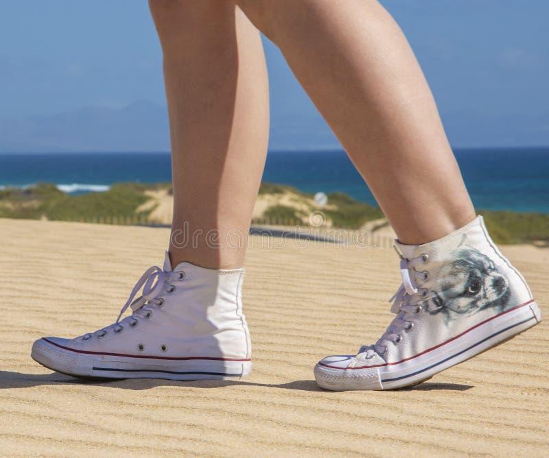 Ciérrese para arriba de las piernas de la mujer que llevan un par de zapatillas de deporte rojas, aislado en blanco imágenes de archivo libres de regalías