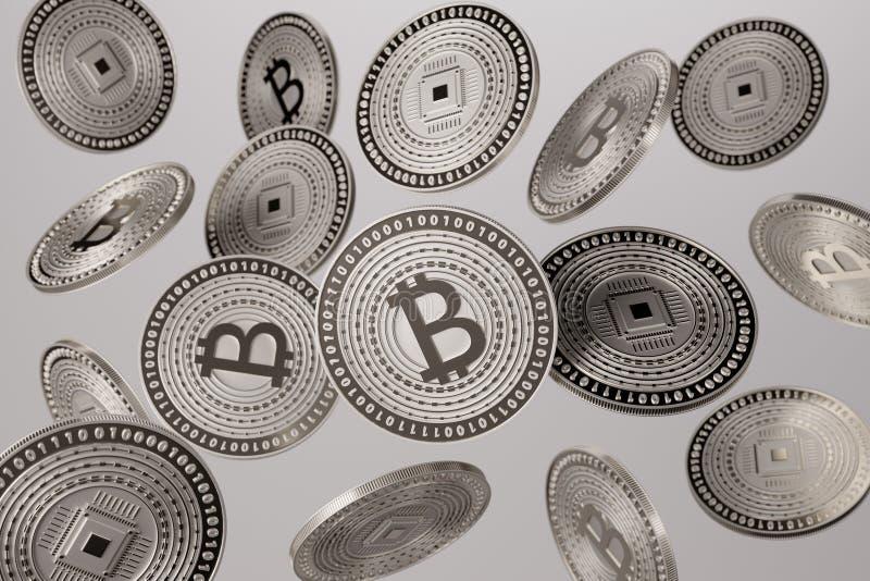 Ciérrese para arriba de los bitcoins de plata lanzados en el aire como ejemplo para el concepto del blockchain y de la crypto-mon ilustración del vector