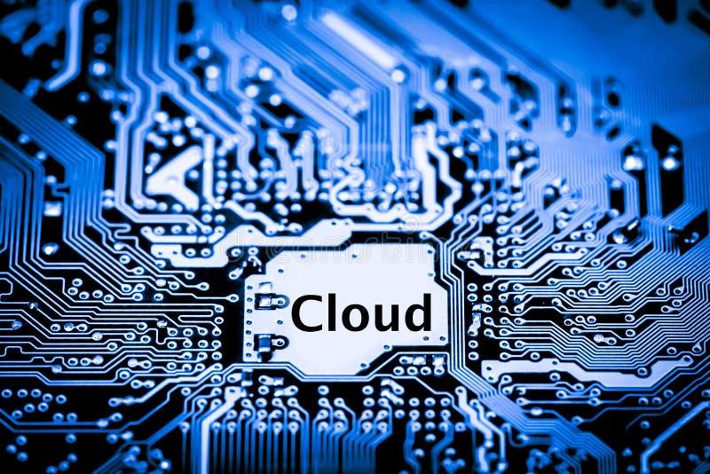 Ciérrese para arriba de los circuitos electrónicos en el tablero de lógica del fondo del ordenador de la tecnología de Mainboard, foto de archivo