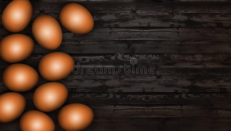 Ciérrese para arriba de los huevos de Pascua marrones en fondo de madera Fondo oscuro rústico Huevos de Brown Pascua en una tabla ilustración del vector