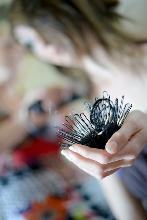 Ciérrese para arriba de los pernos de pelo, concepto del defocus fotografía de archivo libre de regalías