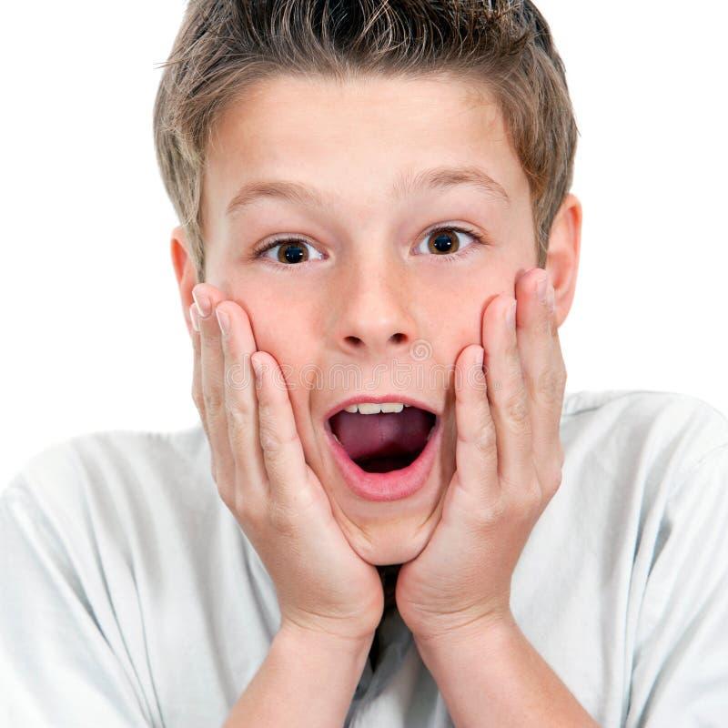 Ciérrese para arriba de muchacho con la expresión asombrosamente de la cara. foto de archivo libre de regalías