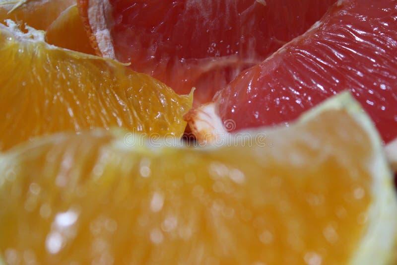 Ciérrese para arriba de naranjas y del pomelo fotografía de archivo