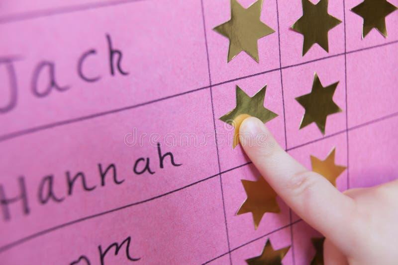 Ciérrese para arriba de niño con la carta de la recompensa imagen de archivo