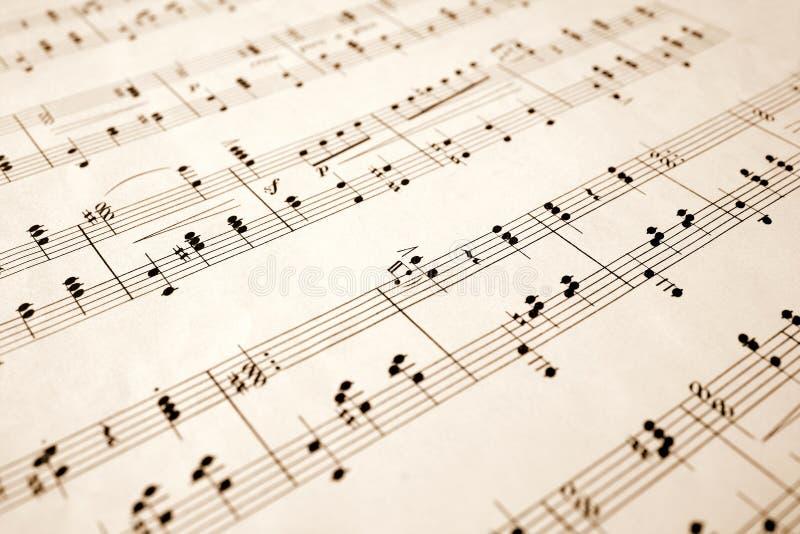 Ciérrese para arriba de notas de la música. stock de ilustración