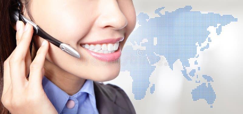Ciérrese para arriba de operador asiático de la mujer de negocios fotografía de archivo