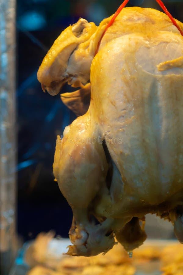 Ciérrese para arriba de pollo hervido en Khao Mun Kai, tienda tailandesa del arroz del pollo de la comida tailandesa de la calle fotos de archivo libres de regalías