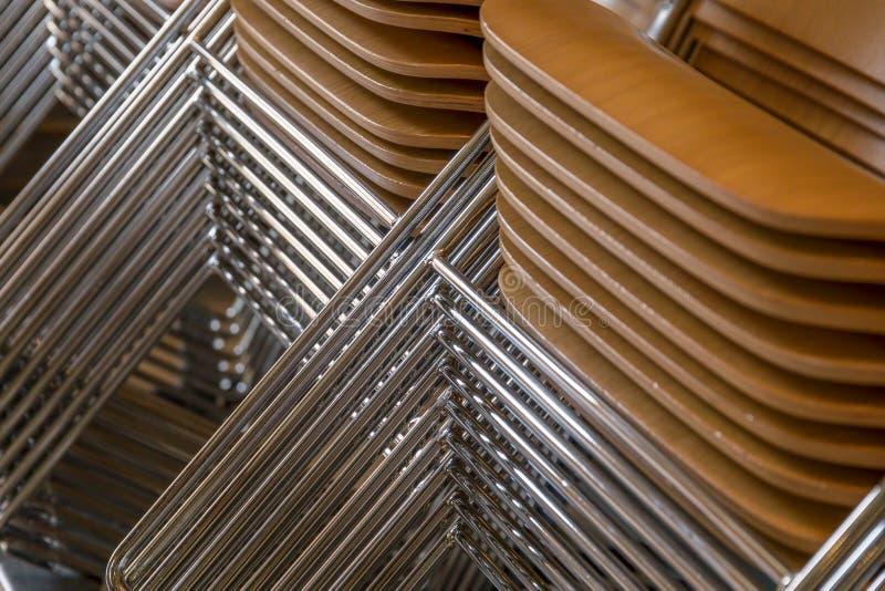 Ciérrese para arriba de sillas apiladas fotografía de archivo libre de regalías