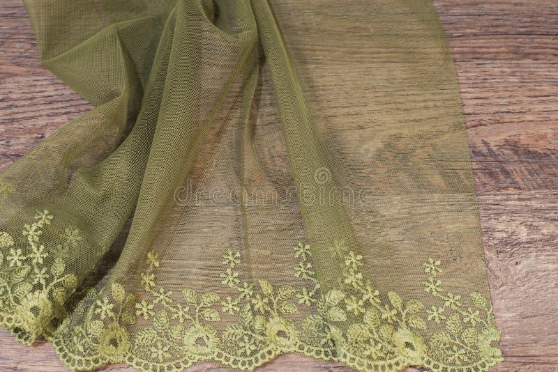 Ciérrese para arriba de Tulle hermosa Muestra escarpada de la tela de las cortinas Textura, fondo, modelo Diseño interior Cordón  fotos de archivo libres de regalías