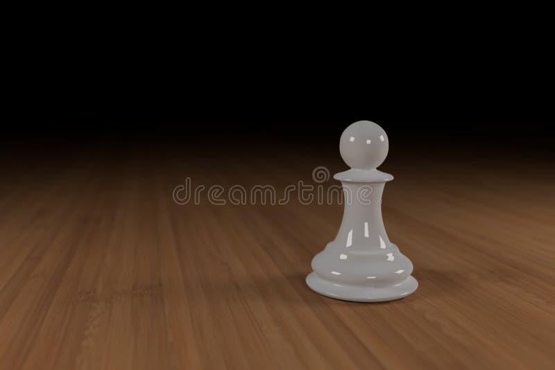 Ciérrese para arriba de un blanco, vidrio, empeño del ajedrez en una superficie de madera foto de archivo libre de regalías