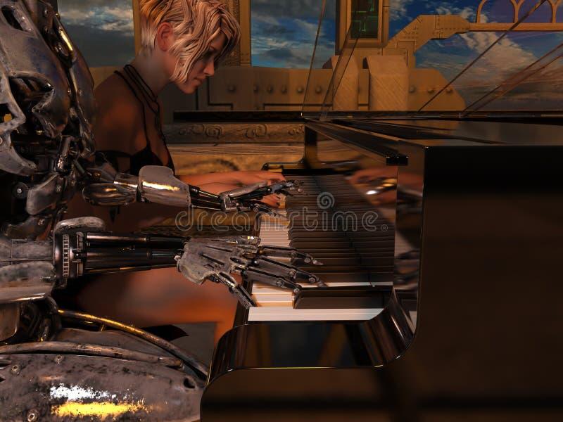 Ciérrese para arriba de un robot y de una mujer que juegan el piano libre illustration