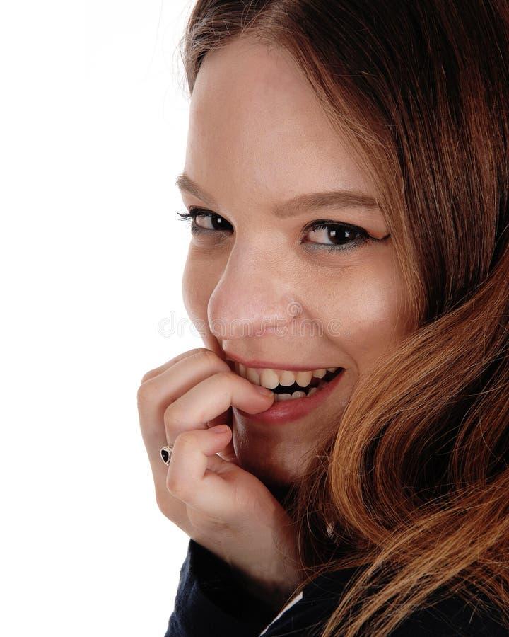 Ciérrese para arriba de una cara de la mujer joven hermosa imagenes de archivo