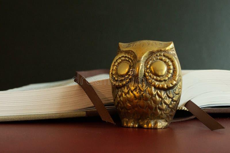 Ciérrese para arriba de una figura de oro de un búho delante de un libro abierto imágenes de archivo libres de regalías