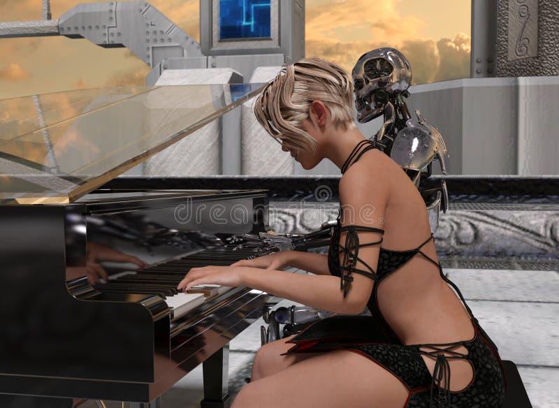 Ciérrese para arriba de una mujer y de un robot que juegan el piano en la puesta del sol libre illustration