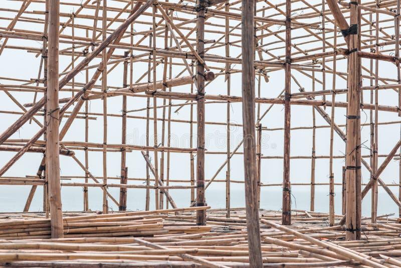 Ciérrese para arriba del andamio de bambú en Hong Kong fotos de archivo libres de regalías