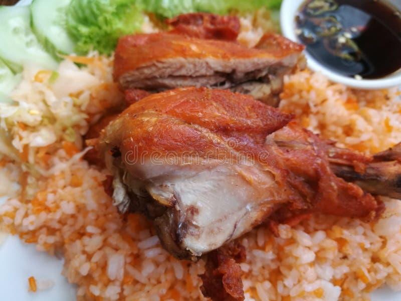 Ciérrese para arriba del arroz asiático del pollo del estilo en Vietnam fotos de archivo libres de regalías