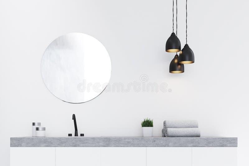 Ciérrese para arriba del fregadero del cuarto de baño, mármol ilustración del vector