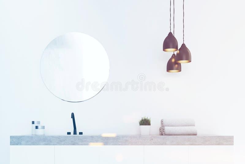 Ciérrese para arriba del fregadero del cuarto de baño, mármol, entonado ilustración del vector