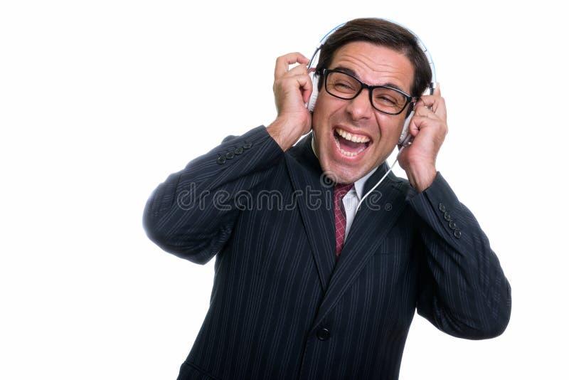 Ci?rrese para arriba del hombre de negocios persa feliz joven pensativo w sonriente fotos de archivo libres de regalías