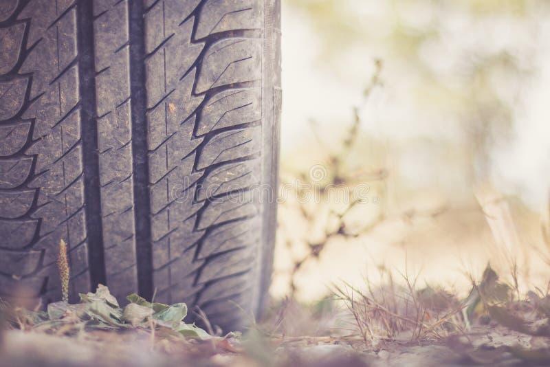Ciérrese para arriba del neumático en el desierto, safari del coche imagen de archivo libre de regalías