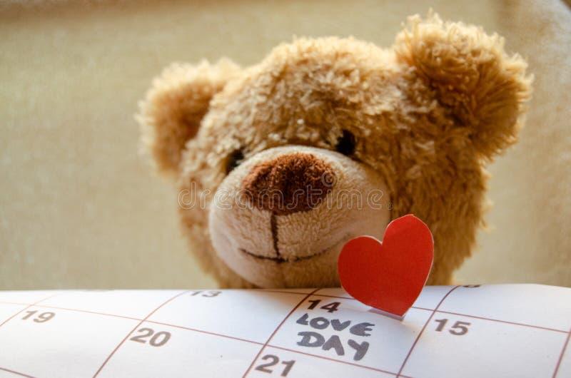 Ciérrese para arriba del oso de peluche que lleva a cabo el corazón rojo callendar y de papel amor día el 14 de febrero de marcad foto de archivo