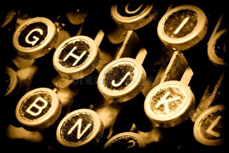 Ciérrese para arriba en claves de la máquina de escribir fotografía de archivo