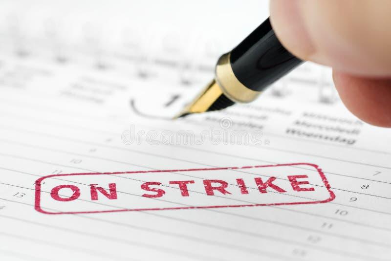 Ciérrese para arriba en de sello de la huelga foto de archivo