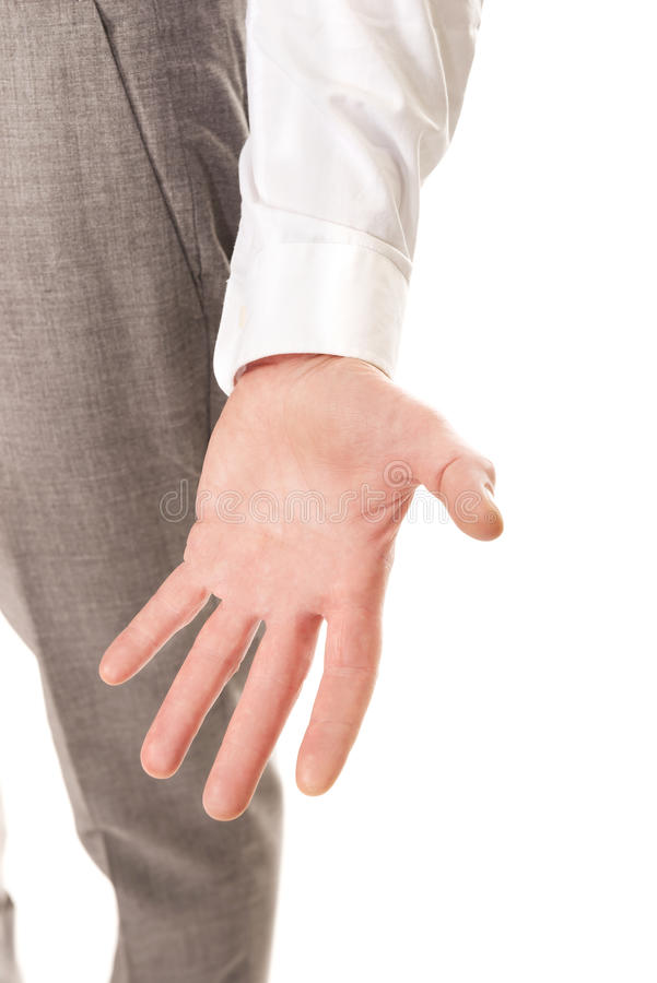 Ciérrese para arriba en la mano vacía del hombre de negocios fotos de archivo